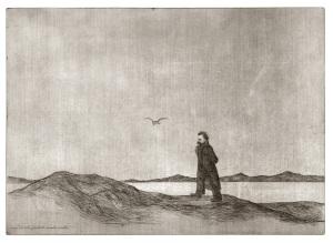 Markus Vallazza Le Chemin de F.Nietzsche, 2001 Radierung laviert © Markus Vallazza 53,5 x 74,5 cm Fotonachweis: Archiv Goethe Galerie, Bozen