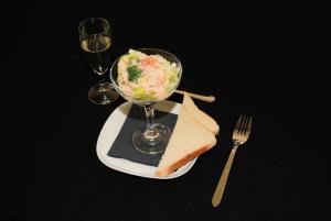 Zum Kunstfrühstücken gab es den berühmten New Yorker Shrimpscocktail.