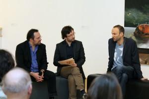 Martin Schnur und Josef Kleindienst im Gespräch nach der Lesung, moderiert von Erwin Uhrmann.