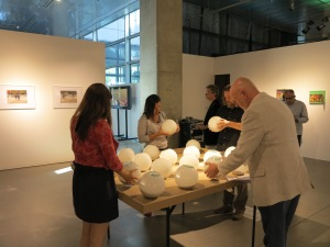 The Jury riveted by the haptic quality of the work by Award-Winner Jelena Lovrec in Zagreb, Foto: Sammlung Essl