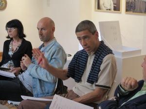 Jurors Zora Rusinová, Igor Spanjol and Gábor Ébli in a heated discussion...,