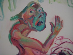 Maria Lassnig, Die Trauer (Detail), 2003, Foto: Günther Oberhollenzer