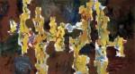Max Weiler: In den Raum geschrieben (Malerei - Gelb auf Rot), 1958 - 1959, (c) Yvonne Weiler, Foto: Franz Schachinger