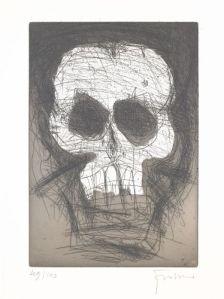 Adolf Frohner, Totenkopf, 1988, aus: Totenkopf-Mappe, Ed. 49/100, Radierung auf Papier, 100 x 49 cm, Foto: Mischa Nawrata, Wien, © Sammlung Essl Privatstiftung, Klosterneuburg / Wien