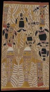 Mathaman Marika, Gunguyuma Dhamarrandji Marrana, ca. 1963 Natürliche Erdpigmente auf Eukalyptusrinde 114 x 61 cm © Sammlung Essl Privatstiftung  Fotonachweis: Graham Baring, Melbourne