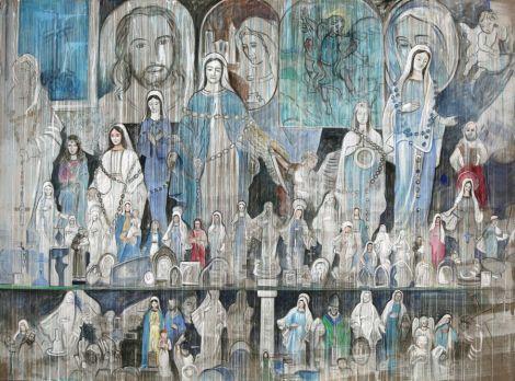 Johanna Kandl, O. T. (Medjugorje), 2008, Tempera auf Leinwand, 270 x 360 cm, Courtesy Niederösterreichisches Landesmuseum, Foto: Helmut & Johanna Kandl